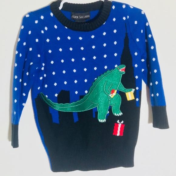 alex stevens kid 2t ugly christmas sweater dino